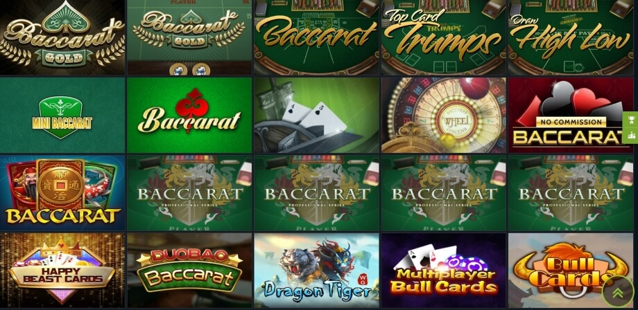 Almost 40 RNG Baccarat Games at 1xBet Casino