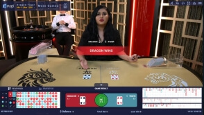 Live Game of Dragon Tiger by Developer Ezugi at 1xBet Casino