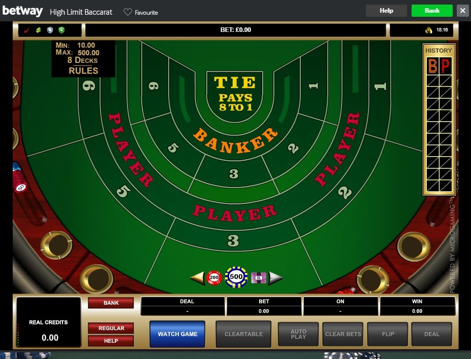 Betway Casino High Limit Baccarat