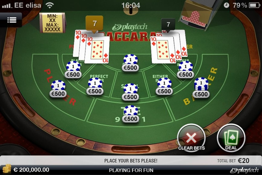 Screenshot of Betfair's baccarat in-play
