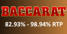 The baccarat option available at Betfair is with an RTP 82.93% – 98.94%