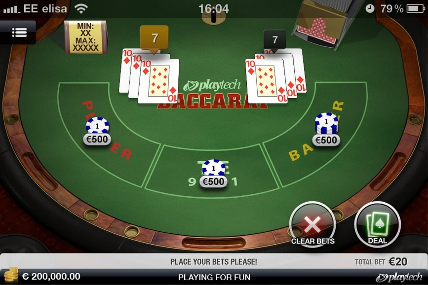 Betfair's baccarat table layout