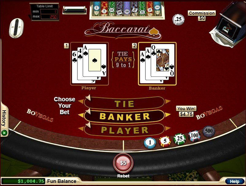 Baccarat by RTG at BoVegas Casino
