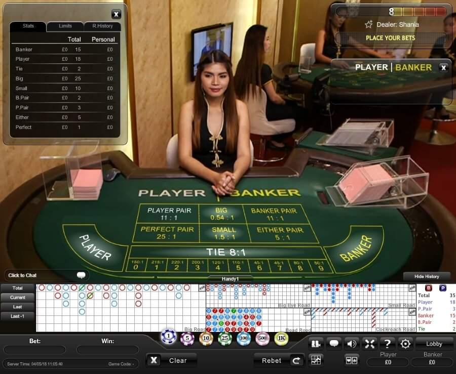 Mini Baccarat Onscreen