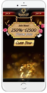 The mobile website of Golden Lion Casino