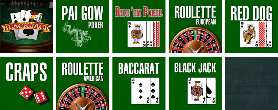 Card and table games at Irish Luck Casino