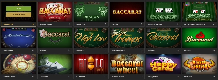 Over 30 RNG Baccarat Games at the Casino Lobby of MELbet
