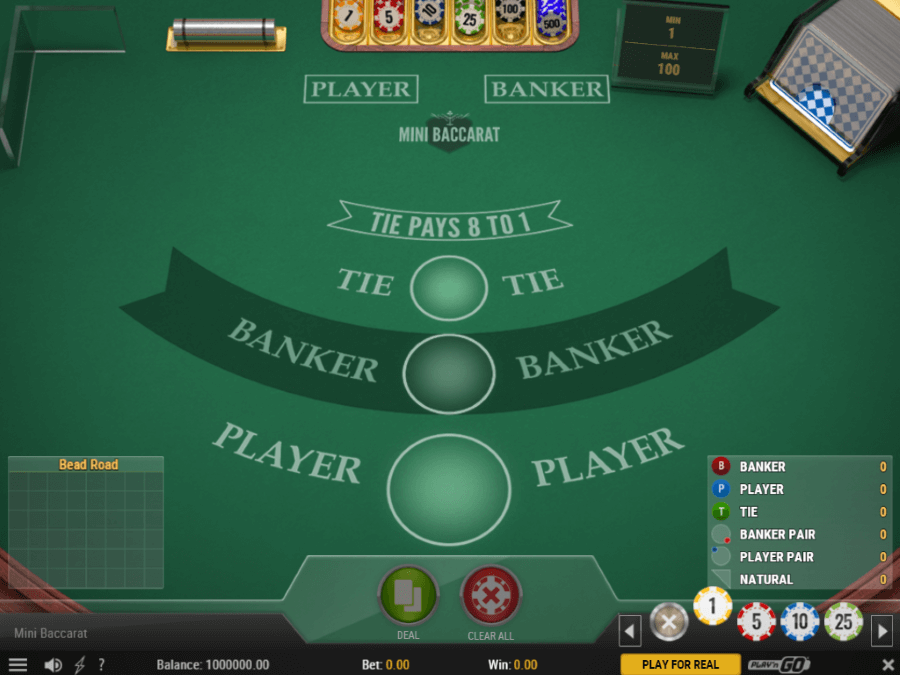 Instant Play Mini Baccarat at Casino-X