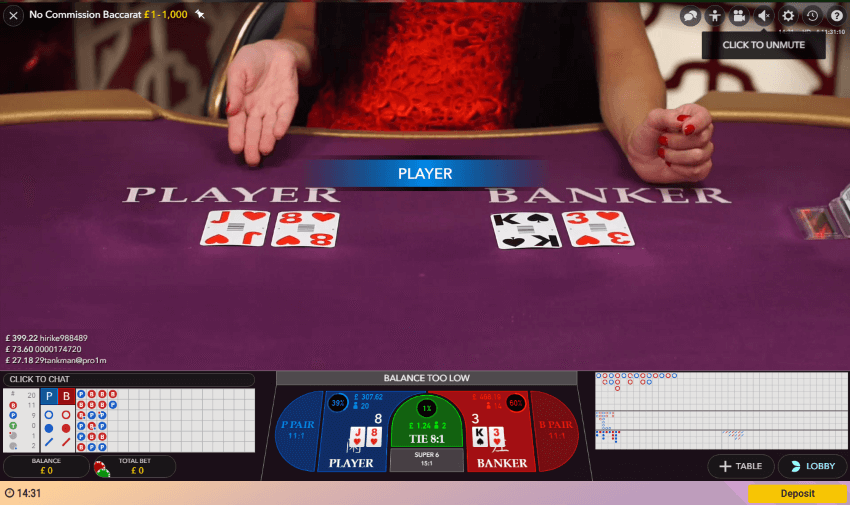 Play No Commission Baccarat Live at Guts