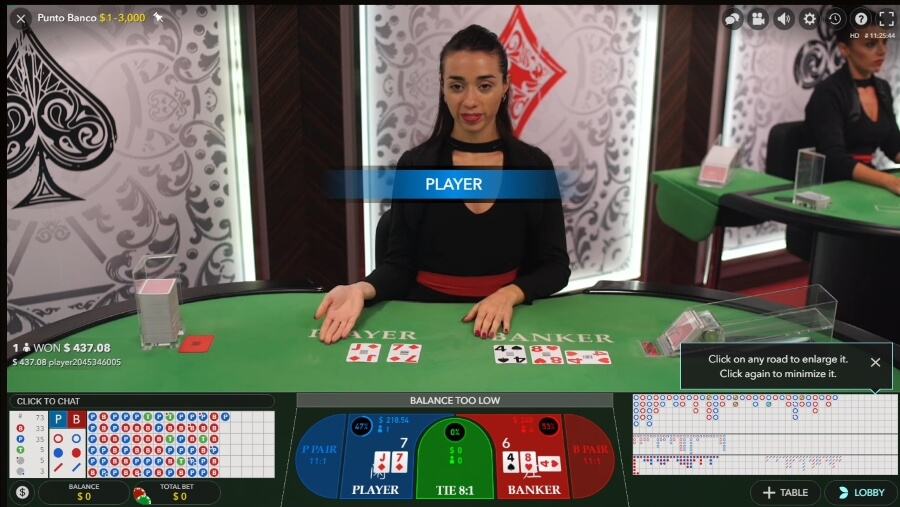 Punto Banco by Evolution Gaming at PlayAmo Casino