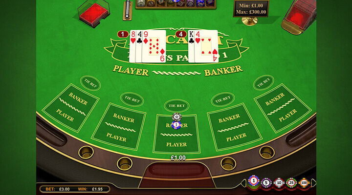 PlayOJO standart baccarat table