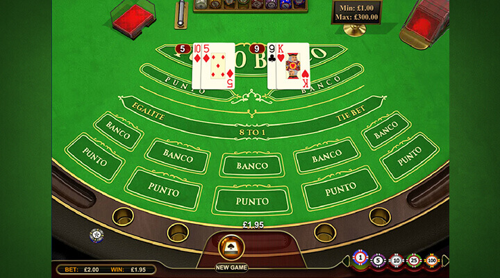 Layout of the Baccarat (Punto Banco) at Red Kings