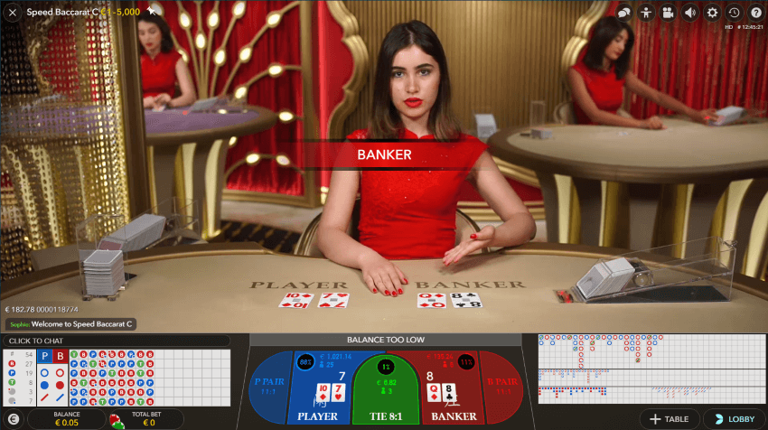Play Live Speed Baccarat at Wunderino