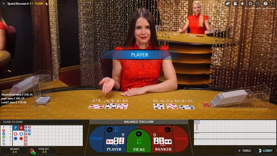 The Standard Speed Baccarat Screen