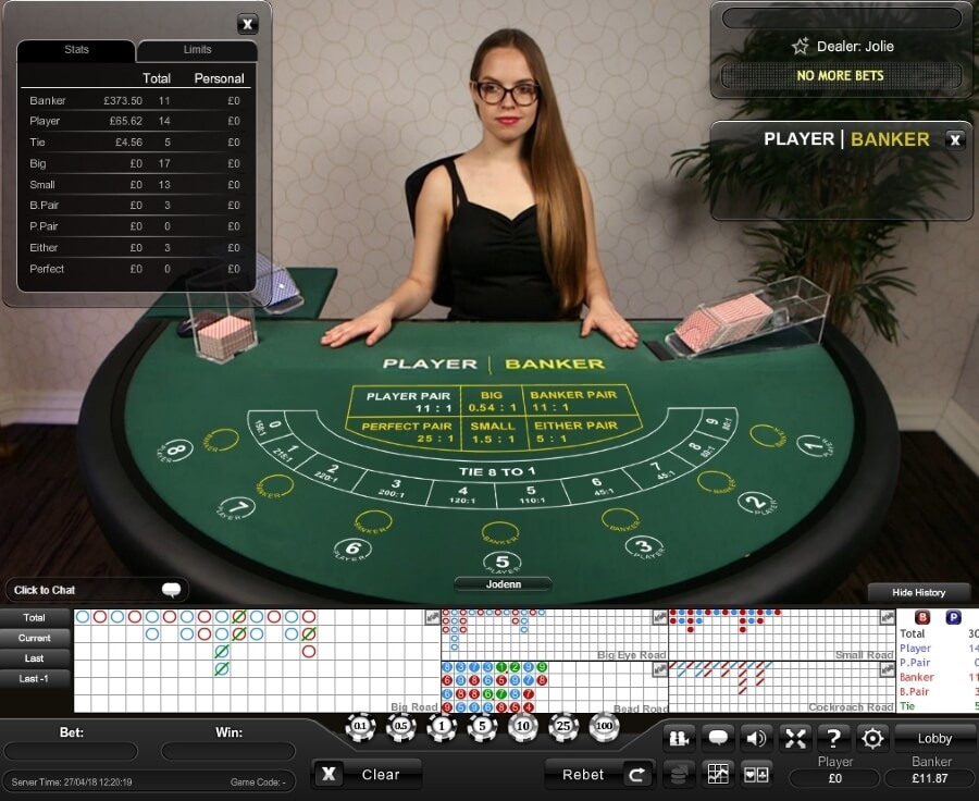 The Table in Playtech Baccarat